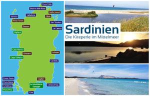 Karte von Sardinien mit den verschiedensten Kitespots zum Kitesurfen