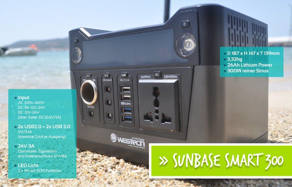 Die Sunbase Smart 300 ideal für unterwegs, um überall mit Strom versorgt zu sein.