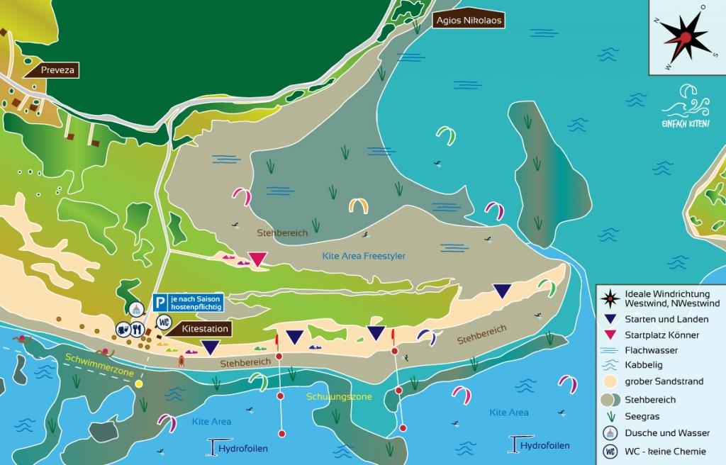 Kitespot Agios Nikolaos Karte, Griechenland