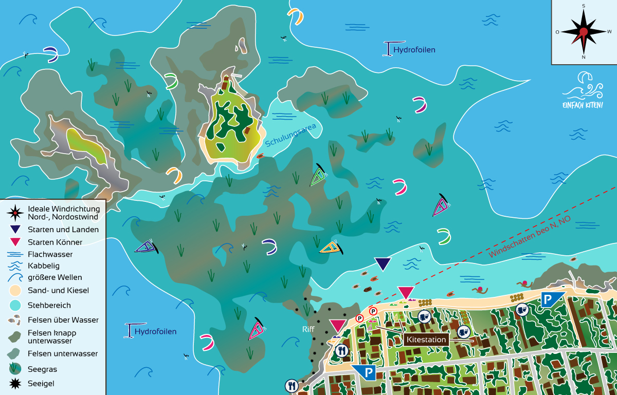 Kitespot Loutsa Karte, Griechenland