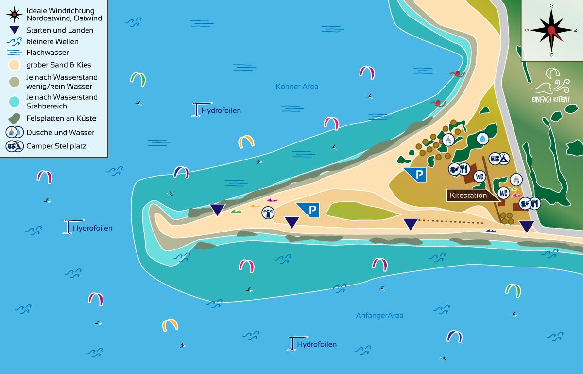 Kitespot Raches Karte, Griechenland